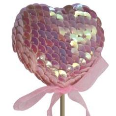 Pick Corazón Lentejuelas Rosa