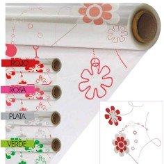 Papel De Celofan Transparente - Modelo FLORES (-30%)
