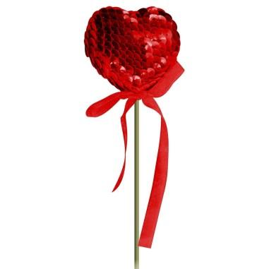 Pick Corazón Lentejuelas Rojo