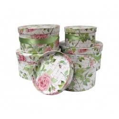 Cajas decorativas REDONDA FLOR (2 COLORES) (5 piezas)