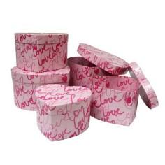 Cajas decorativas CORAZON LOVE (5 piezas)(antigua)