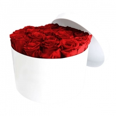 Caja de Rosas Preservadas Redonda